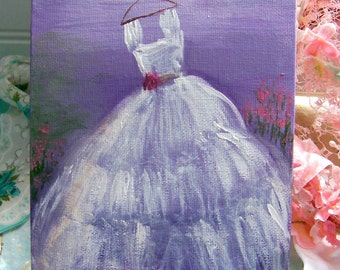 Acrylic Dress Painting, Original Artwork, Dresses, Romantic Art, Purple, Dress Paintings, Acrylic, Shabby Style Home, Home Decor, Cottage