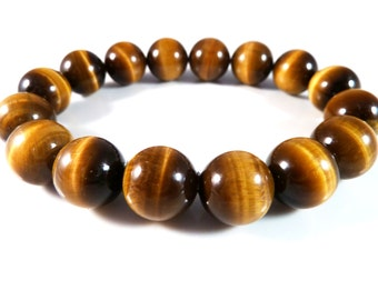 Tiger's Eye Stretch Bracelet Smooth Round Golden Yellow 12mm High Quality Beads
