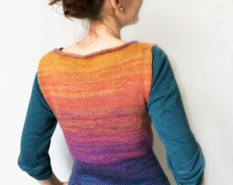 Knitted vest/ sunset colors/ knitted tunics