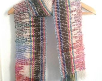 The Traveller - Ooak handwoven woollen scarf - unisex scarf made with handspun luxury yarn -  mens scarf, scarf for him