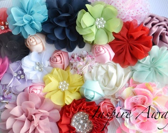 Flower Grab bag of 5,10,15 or 20 Fabric flowers and bows for DIY headbands and Crafting. Baby headband supplies, fabric flower wholesale