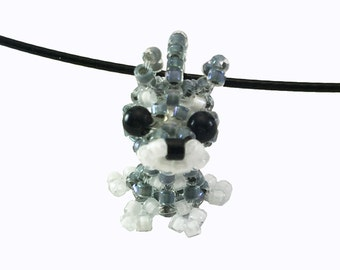 Schnauzer Necklace, beaded schnauzer, beaded dog, seed bead jewelry, beaded animal, charm, dog necklace