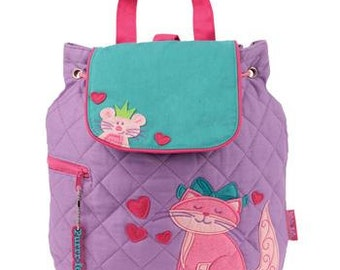 Personalized Stephen Joseph Cat Quilted Backpack