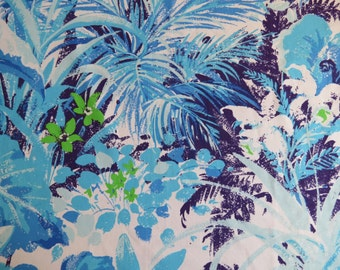 Vintage Sheet Fabric Fat Quarter - Tropical Blue and Purple Floral