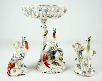 Centerpiece Von Schierholz Porcelain Compote and matching Candlesticks- Exoctic Birds in Peacock Colors