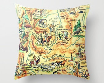 Wyoming Pillow Cover, Husband Birthday Gift Wyoming Gift, Wife to Husband Gift Wyoming State Map Throw Pillow Southwest Pillow Southwest Art