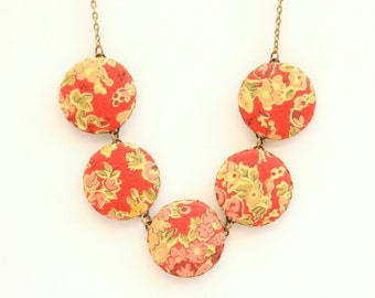Liberty of London Five Button Fabric Necklace in Tatum Red
