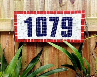 Red, White and Blue Address Sign, Mosaic House Numbers
