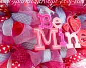 Valentine's Be Mine Valentine - Deco Mesh Wreath - Valentines Wreath - Door Decoration - Owl Wreath - Valentines Decor