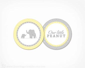 Elephant Cupcake Toppers Baby Shower - Printable INSTANT DOWNLOAD - Gender Neutral Yellow and Grey Favor Tag Party Circle