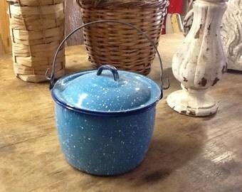 Blue Splatterware Enamel Pot with Lid