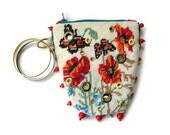 Handmade Embroidered Bag. Mixed Media Wristlet. Needlepoint Floral Pouch. Metallic Gold.