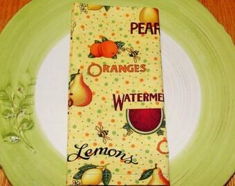 Cloth Napkins - Set of 4 - Delicious Fruit Napkins - Dinner Napkin, Everyday Napkin, Wedding Napkin and Gift Napkin