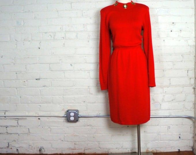 St John Knit Dress 1980s Vintage Red Sweater Dress MEDIUM Long Sleeve Designer Sweater Dress Business Attire Santana Knit Saks Fifth Avenue