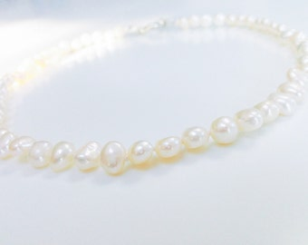 Real Pearl Necklace Genuine Knotted Pearl Necklace Hand Knotted Ivory Pearls with Sterling Silver Clasp Wedding Jewellery Bridal Necklace