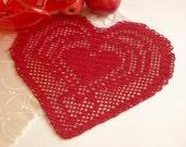 Crochet heart doily Red cotton crochet doilies Lace doilies Valentines day doily lace