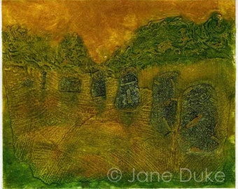 Avebury Stone Circle Collagraph Print Handpulled Unframed