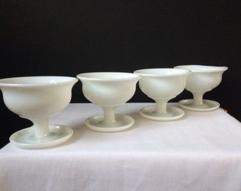 Vintage - Milk Glass - Footed Dessert Dishes - Set of Four