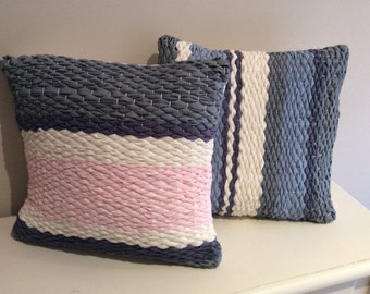 Hand weaved rag cushion