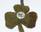Shamrock in green tweed for hanging with Irish Sheep for St. Patricks Day