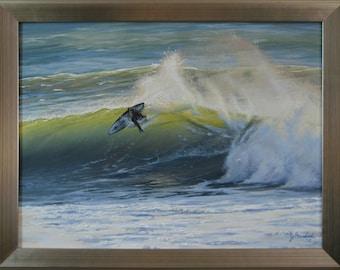 Original 18x24 Surfer Seascape Painting on Canvas by J. Mandrick