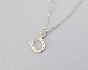 Tiny Sterling Silver Horseshoe Necklace, Lucky Horseshoe, Sterling Silver