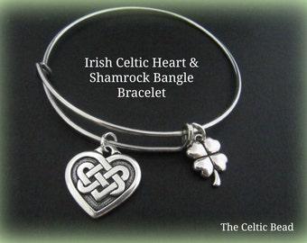 Irish Celtic Knot Heart & Shamrock Bangle Bracelet - Adjustable - Stack able