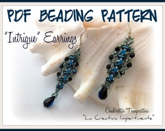 "Tutorial  ""Intrigue"" Earrings - Superduo, Rose Montee - Pdf Beading Pattern"
