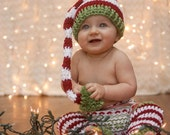 Christmas Stocking hat and leggings - Red and White Elf Hat and leggings