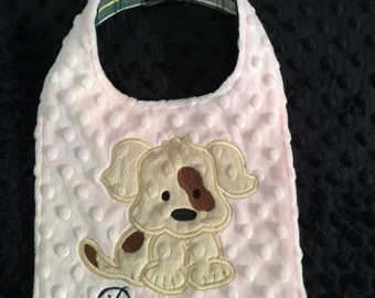 Pink Puppy Dog Bib, Doggie bib, Girls Dog Bib