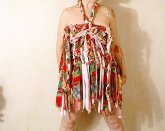 Red dress Woman dress Halter dress tattered dress gypsy dress Empire dress Summer dress Floral dress Sundress Maternity dress