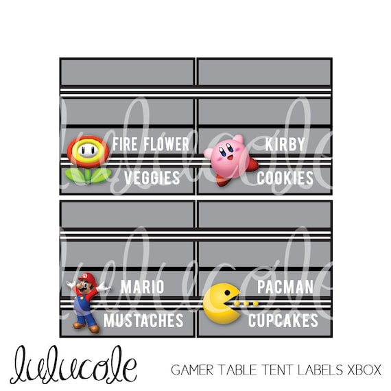 Game truck party table tent food labels game truck by lulucole for Decoration xbox one