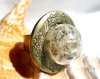 Dandelion seed, photo locket ring, glass globe ring filled with dandelion seeds in bronze.