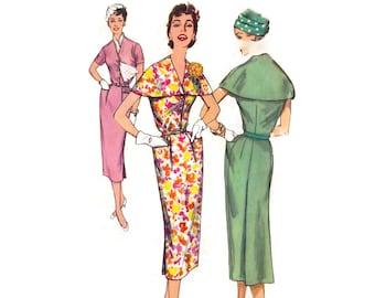 1950s Dress Pattern Simplicity 1998, Slim Skirt Sheath Dress, Cape Collar, Pleated Waist, 1957 Vintage Sewing Pattern Bust 36, Uncut