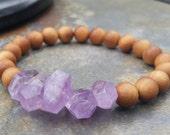 Sandalwood and Amethyst Stretch Bracelet, mala bracelet, yoga,amethyst bracelet, gemstone jewelry