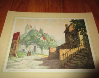 Vintage art by artist Porteau titled Southern France lithprinted in U.S.A.