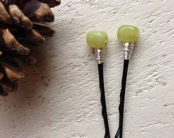 Decorative Hair Pins Lovely Lime Green Jade Beaded Bobby Pins