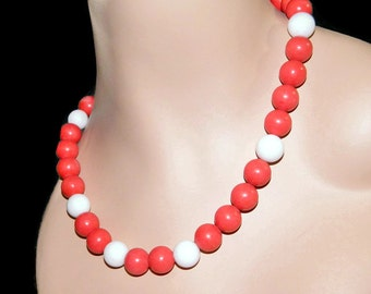 Chunky Coral Necklace, Beaded Necklace, Sterling Silver