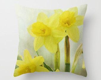 Daffodils Photo Throw Pillow, Throw Pillow, Flower Pillow, Botanical