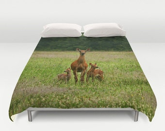 Doe with Twin Fawns Duvet Cover, Photography, Bed Decor, Nature, Wildlife, Home Decor