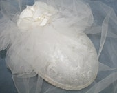 Vintage Wedding Ecru Lace Tulle Hat Fabric Rose Sequins Whittall & Javits  Wedding Garden Party Kentucky Derby Steeplechase