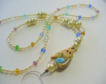 Cat Lanyard Necklace, Ivory Pearl and Multi Color Lanyard, Nametag, Eyeglass Holder, Keychain Holder, Bead Lanyard, Lampwork Cat Focal Bead