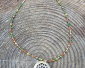 Diffuser Necklace, Antique Brass Circle Locket with Beaded Chain, for aromatherapy and essential oils