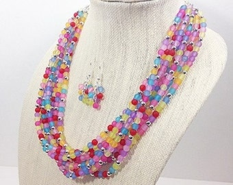 Statement Necklace! Extra Chunky pastel + mirrorball jewelry set, earrings included!