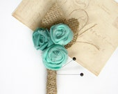 Mens Wedding Boutonniere, Grooms Flower, Groomsmen Pin, Aqua Wedding, Rustic Burlap Wedding, Vintage Inspired, Buttonhole, Lapel Pin,