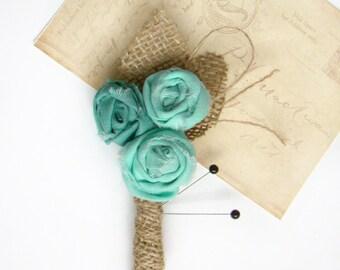Mens Wedding Boutonniere, Grooms Flower, Groomsmen Pin, Aqua Wedding, Rustic Burlap Wedding, Vintage Inspired, Buttonhole, Lapel Pin,