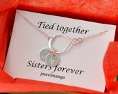 Monogram Sisters Infinity Necklace, tied together sisters forever, Silver big sis, little sis, sisters jewelry, sterling silver, initial