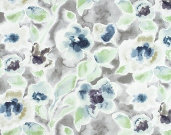 Teal Grey Floral Upholstery Fabric On Sale