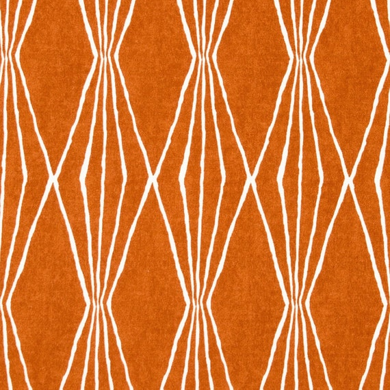 Tangerine Upholstery Fabric Orange White By Popdecorfabrics