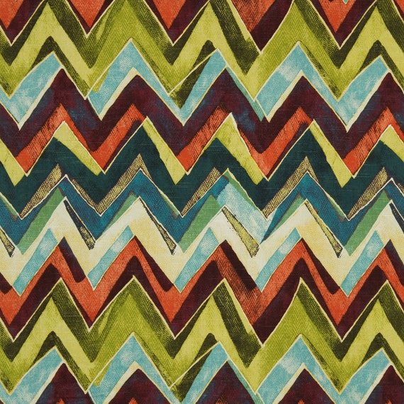 Modern Orange Teal Chevron Upholstery Fabric Purple Green